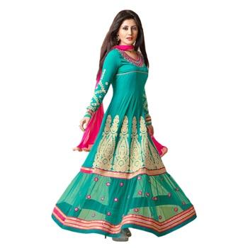 Green Georgette Semi Stitch dress Zoolkiss7002