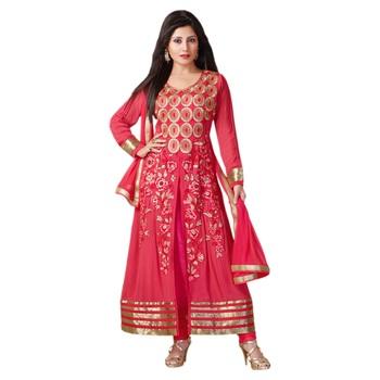 Pink Georgette Semi Stitch dress Zoolkiss7008