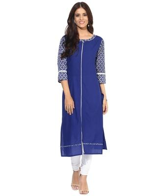 Jaipur Kurti Women's Cotton Blue colour Kurti