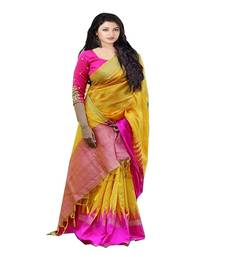 Buy Yellow printed  bhagalpuri and cotton saree with blouse traditional-saree online