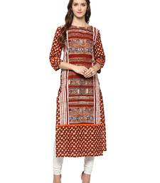 Jaipur Kurti Women's Cotton Red colour Kurti