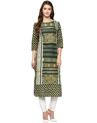 Jaipur Kurti Women's Cotton Green colour Kurti