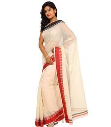 Buy Beige woven organza saree with blouse banarasi-saree online