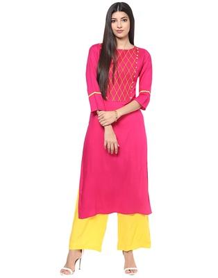 Jaipur Kurti Women's Cotton Pink colour Kurti