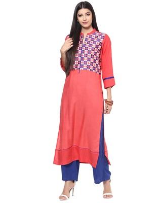 Jaipur Kurti Women's Cotton Peach colour Kurti
