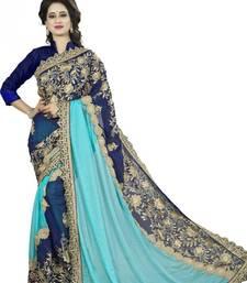 Buy Blue embroidered georgette saree  half-saree online