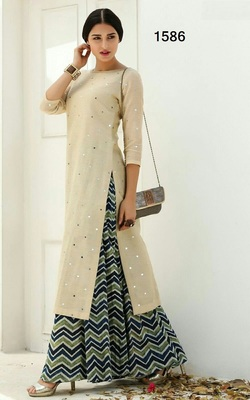 Cream printed silk unstitched lehnega