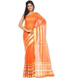 Buy Orange woven art silk saree with blouse banarasi-saree online