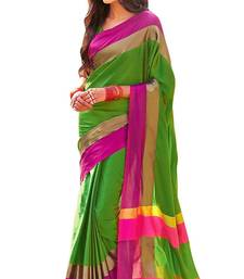 Buy Green printed faux kora saree with blouse kota-silk-saree online