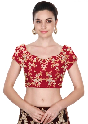 Fabron Short sleeves red embroidered unstitched blouse for women