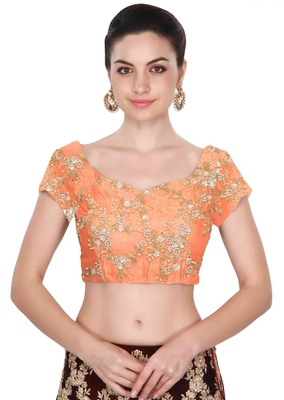 Fabron Short sleeves peach embroidered unstitched blouse for women