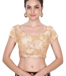Fabron Short sleeves beige embroidered unstitched blouse for women
