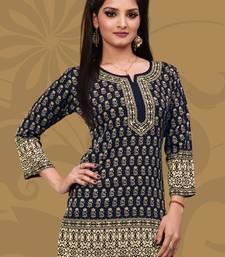 Buy Dark Blue printed crepe stitched short-kurtis short-kurti online