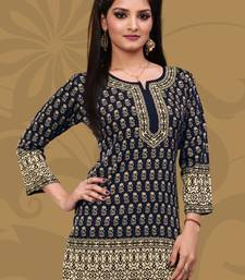 Dark Blue printed crepe stitched short-kurtis
