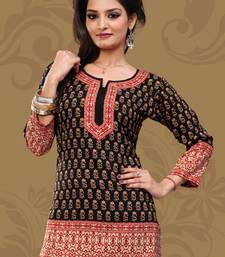 Dark black printed crepe stitched short-kurtis