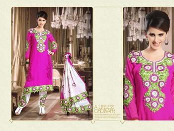 offWhite & Pink Color Designer Salwar Kameez