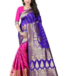 Buy Blue woven poly cotton saree with blouse traditional-saree online