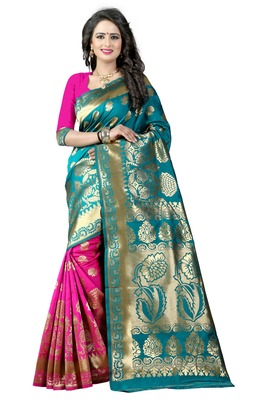 Light green woven poly cotton saree with blouse
