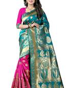 Buy Light green woven poly cotton saree with blouse
