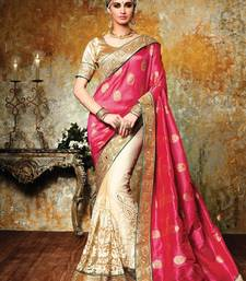 Buy Pink woven georgette saree with blouse georgette-saree online