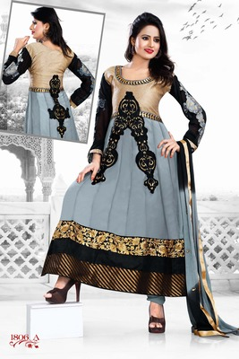 Grey,Black Color Designer Salwar Kameez