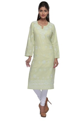 Green Embroidered Stitched Cotton Kurti