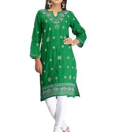 Buy Green embroidered stitched cotton-kurtis chikankari-kurti online