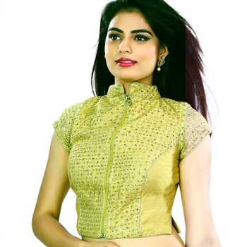 Stand Color Blouse Designs : Gold front zipper brocade net stand collar ready blouse heena