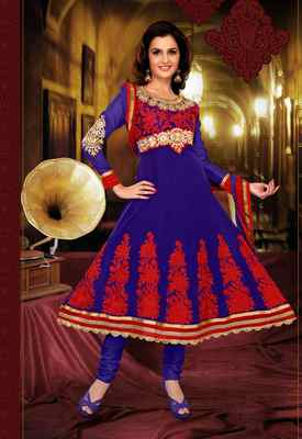 Blue Colored Pure Georgette Embroidered Salwar Suit