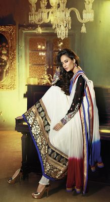 White & Blue Colored Georgette Embroidered Salwar Suit
