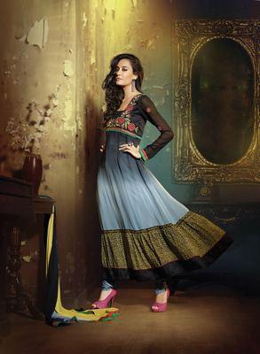 Black & Light Blue Colored Georgette Embroidered Salwar Suit