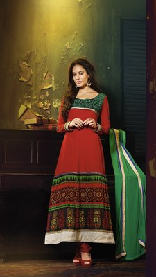Red Colored Georgette Embroidered Salwar Suit