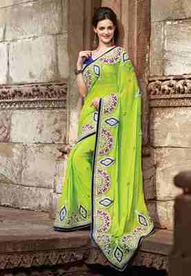Green Colored Pure Viscose Embroidered Saree