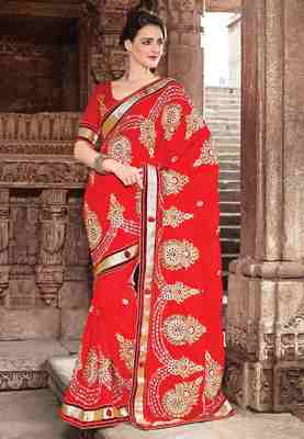 Red Colored Chiffon Embroidered Saree