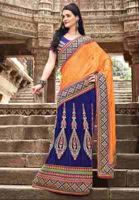 Blue & Orange Colored Jacquard Embroidered  Saree