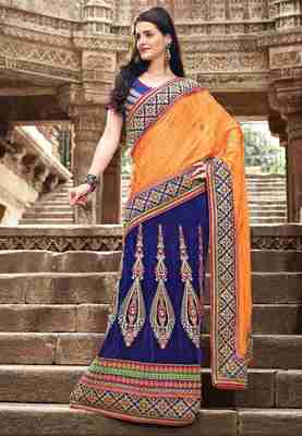Blue & Orange Colored Jacquard Embroidered  Saree