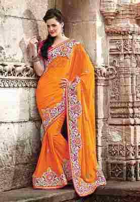 Orange Colored Pure Viscose Embroidered Saree
