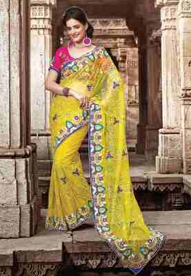 Yellow Colored Net saree Embroidered Saree