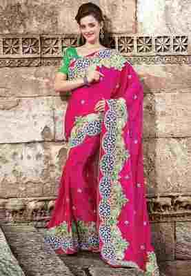 Magenta Colored Jacquard Embroidered Saree