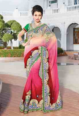 Light Pink & Maroon Colored Pure Viscose Bemberg Embroidered Saree