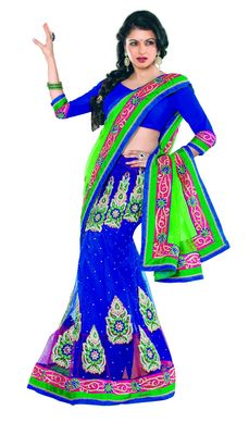 Blue Color Net Lahenga Saree