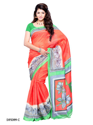 Carrot Color Art Silk Party Wear Fancy Saree