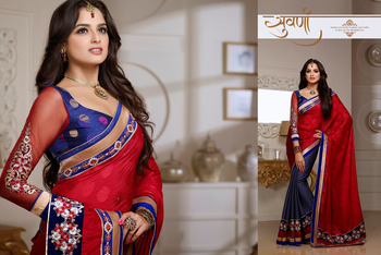 Charming Red And  Pale Deep Purple Embroidered Saree