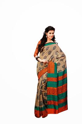 Cream and Multicolor Raw Silk Saree