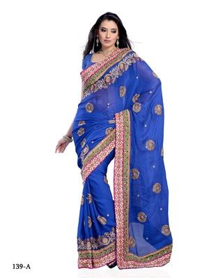 Dark Blue Color Georgette FestivalParty Wear Designer Saree