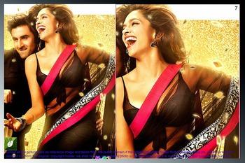 Deepika Padukone Black Bright Net Bollywood Saree