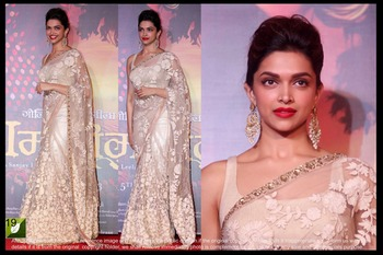 Deepika Padukone White n Chiku Bright Net Bollywood Saree