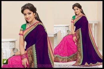 Deepika Singh Purple 60 Gram + Cotton Net Jacquard Bollywood Saree