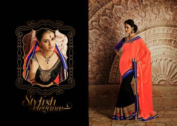 Divine Black And  Tomato Embroidered Saree