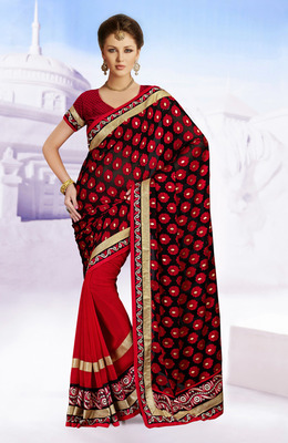 Glamorous Black And  Red Embroidered Saree